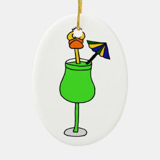 Funny Duck in Tropical Drink Ceramic Ornament