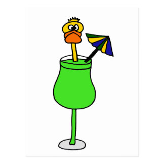 Funny Duck in Tropical Drink Postcard