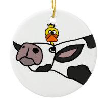 Funny Duck on a Cow Cartoon Ceramic Ornament