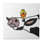 Funny Duck on a Cow Cartoon Ceramic Tile