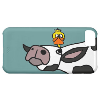 Funny Duck on a Cow Cartoon Cover For iPhone 5C