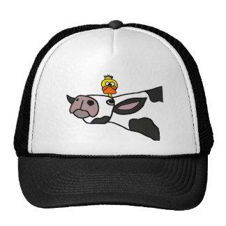 Funny Duck on a Cow Cartoon Trucker Hat