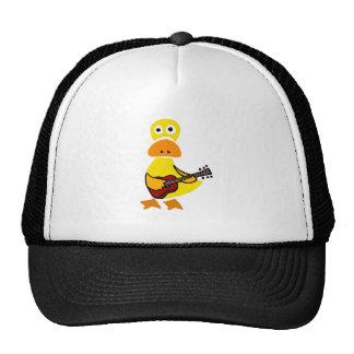 Funny Duck Playing Guitar Primitive Art Trucker Hat