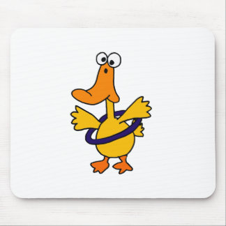 Funny Duck Playing Hula Hoop Cartoon Mouse Pad