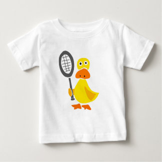 Funny Duck Playing Tennis Cartoon Baby T-Shirt