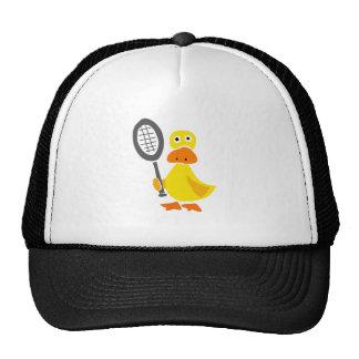 Funny Duck Playing Tennis Cartoon Mesh Hat