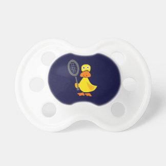Funny Duck Playing Tennis Cartoon Pacifier
