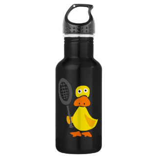 Funny Duck Playing Tennis Cartoon Water Bottle