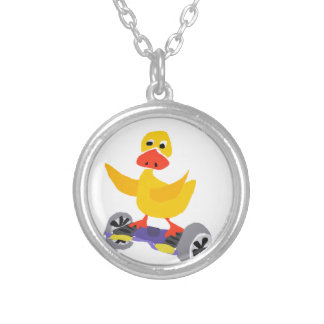 Funny Duck Riding Motorized Skateboard Silver Plated Necklace