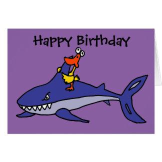 Funny Duck Riding Shark Cartoon Card