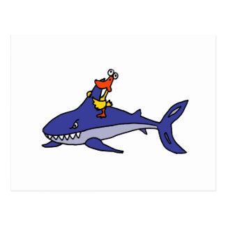 Funny Duck Riding Shark Cartoon Postcard