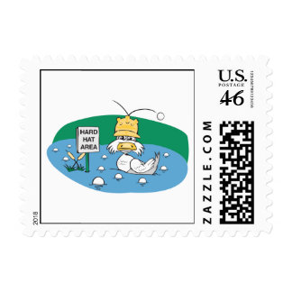 funny duck with hard hat avoiding golf balls stamp
