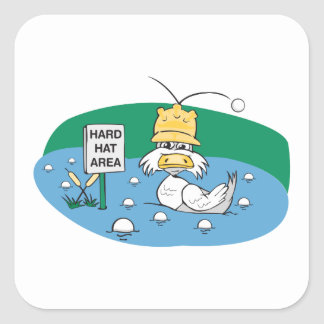 funny duck with hard hat avoiding golf balls square sticker