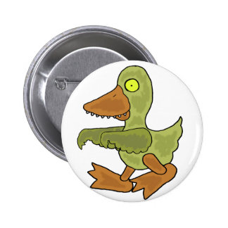 Funny Duck Zombie Cartoon Pinback Button