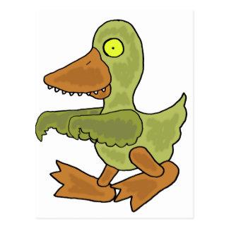 Funny Duck Zombie Cartoon Postcard