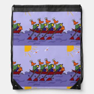 Funny Ducks in a Row Boat Cartoon Drawstring Bag