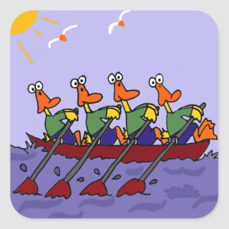 Funny Ducks in a Row Cartoon Square Sticker