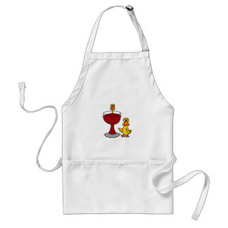 Funny Ducks with Red Wine Glass Adult Apron