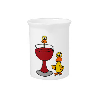 Funny Ducks with Red Wine Glass Beverage Pitcher