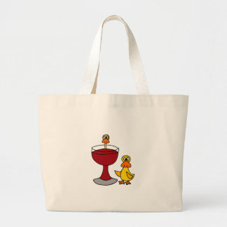 Funny Ducks with Red Wine Glass Large Tote Bag