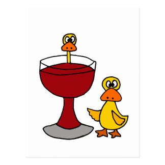 Funny Ducks with Red Wine Glass Postcard