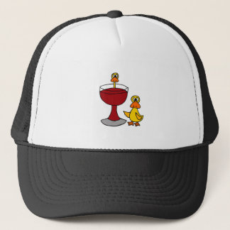 Funny Ducks with Red Wine Glass Trucker Hat