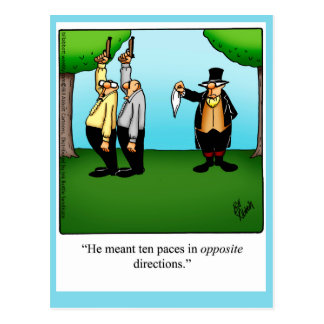 "Funny ""Dueling Humor"" Postcard"