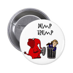 Funny Dump Trump Political Cartoon Art Pinback Button at Zazzle