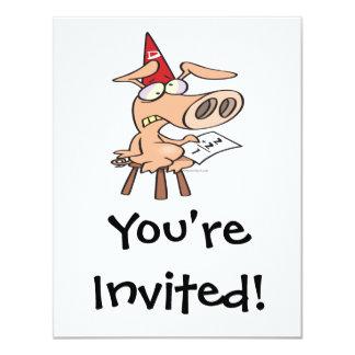 funny dunce dumb pig cartoon 4.25x5.5 paper invitation card