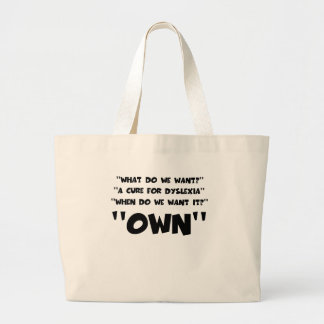 Funny dyslexic large tote bag