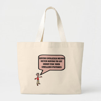 Funny dyslexic slogan large tote bag