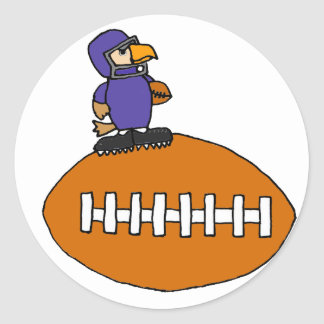 Funny Eagle Mascot on Football Classic Round Sticker