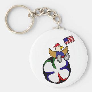 Funny Eagle Sitting on Soccer Ball Key Chain