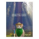Funny Earth Day American Gothic Green Cat Postcard