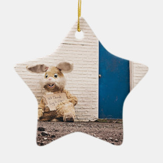 funny easter bunny ceramic ornament