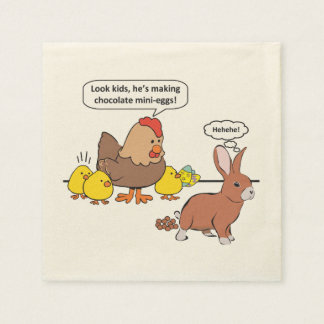 Funny Easter Bunny Chocolate Eggs Paper Napkin
