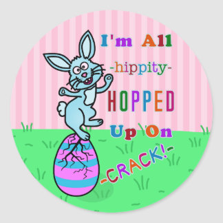 Funny Easter Bunny Cracked Egg Humor Classic Round Sticker