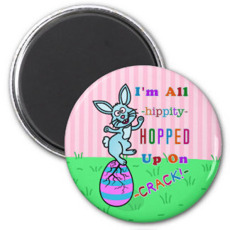 Funny Easter Bunny Cracked Egg Humor 2 Inch Round Magnet