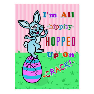 Funny Easter Bunny Cracked Egg Humor Postcard