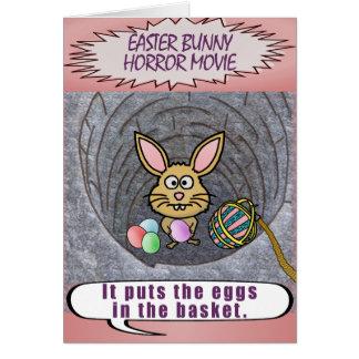 Funny Easter Bunny Horror Movie Card