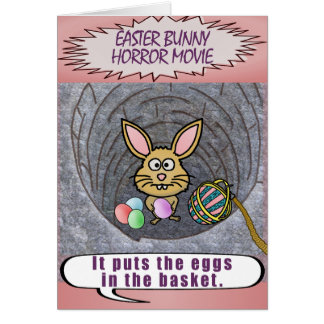 Funny Easter Bunny Horror Movie Greeting Card
