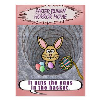 Funny Easter Bunny Horror Movie Postcard