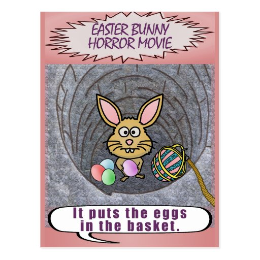 Funny Easter Bunny Horror Movie Postcard