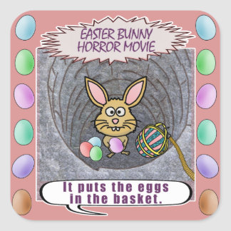 Funny Easter Bunny Horror Movie Square Sticker