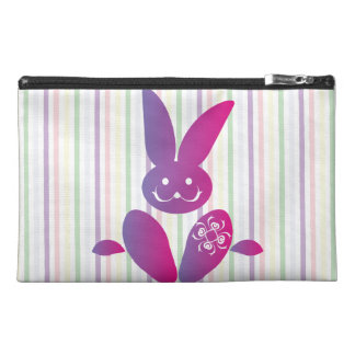 Funny Easter Bunny on Stripes Travel Accessories Bag