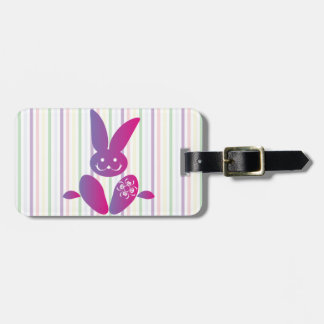 Funny Easter Bunny on Stripes Bag Tag