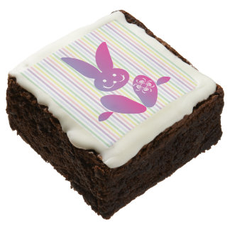 Funny Easter Bunny on Stripes Brownie