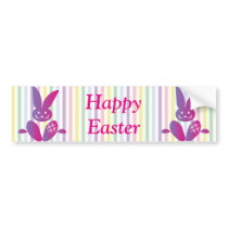 Funny Easter Bunny on Stripes Bumper Sticker