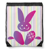 Funny Easter Bunny on Stripes Drawstring Backpack