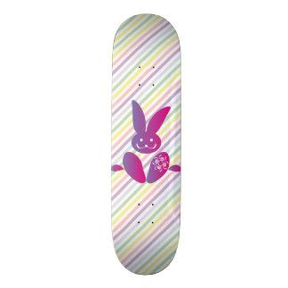Funny Easter Bunny on Stripes Skateboard